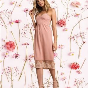 Blush Lace Bustier Midi Dress